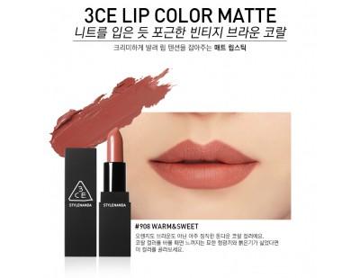 3CE Matte Lip Color #908 Warm & Sweet