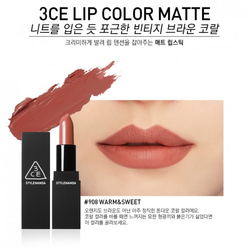 3CE Matte Lip Color #908 Warm & Sweet