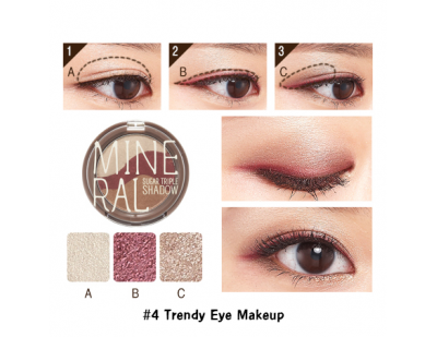 Skinfood Mineral Sugar Triple Shadow #4 Trendy Eye Makeup